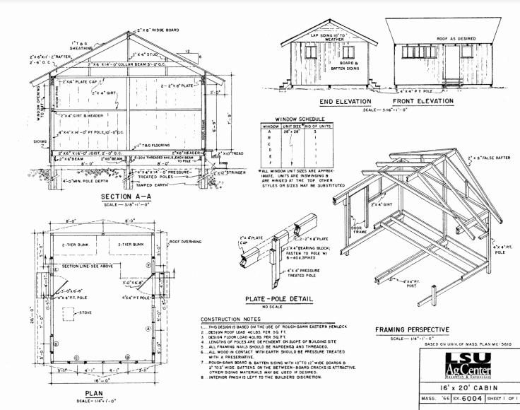 16' x 20' small cabin floor plan.