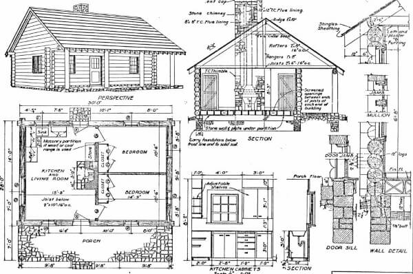 Build a Log Home with this Two-Bedroom Cabin Plan