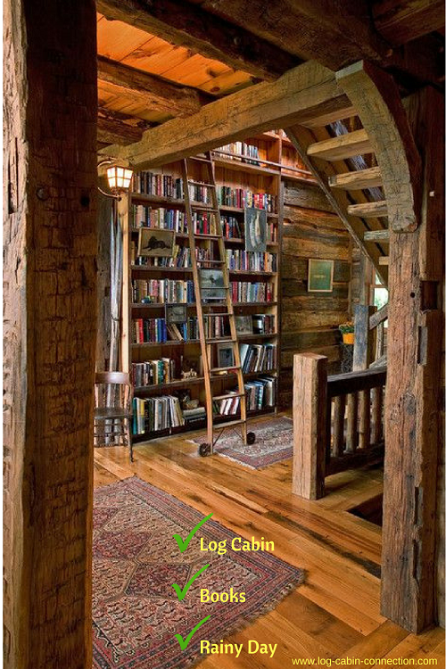 A cozy cabin library invites you to linger.