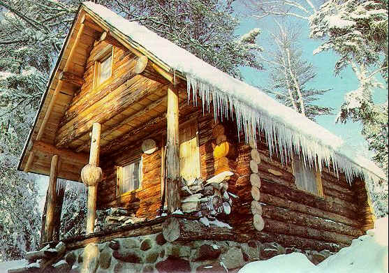 Build a small log cabin - cabin with icicles hanging from roof.