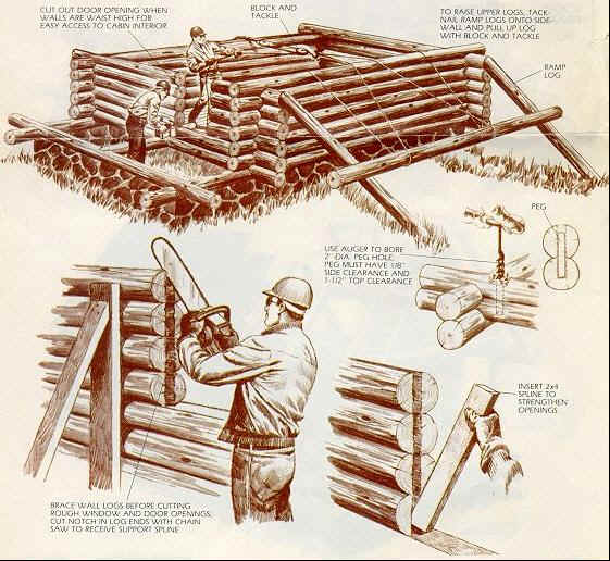 Drawing showing construction of cabin walls.