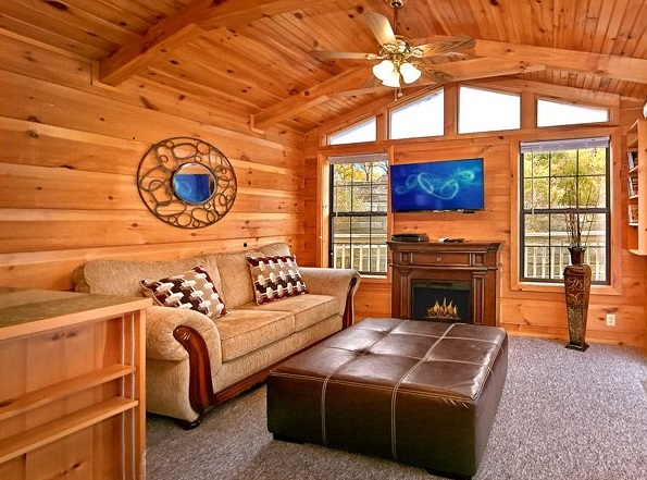 Electric cabin fireplace in living room.