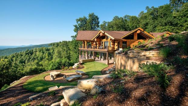 Cabin building on a slope has unique challenges.