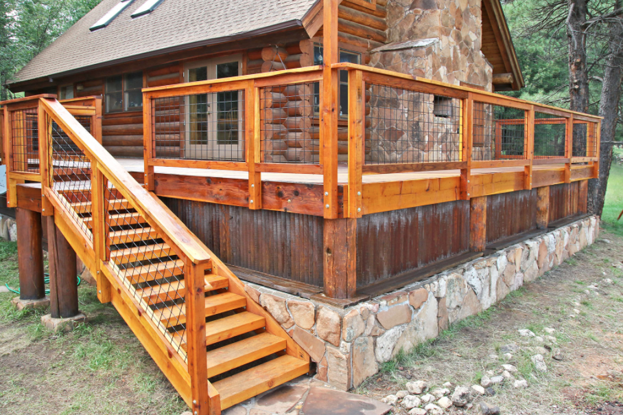 Log Cabin decks and porches require a ledger board to attach the structure to the house.