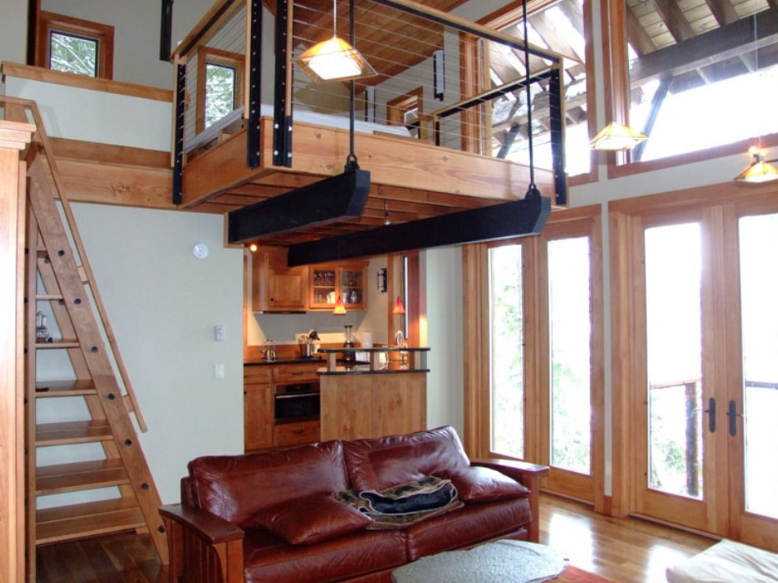 Cantilevered cabin loft.