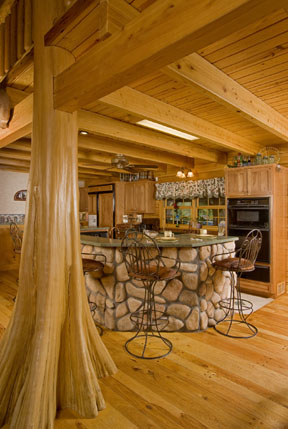 Log Cabin Interior Design - cypress cabin interior brings the outdoors inside.