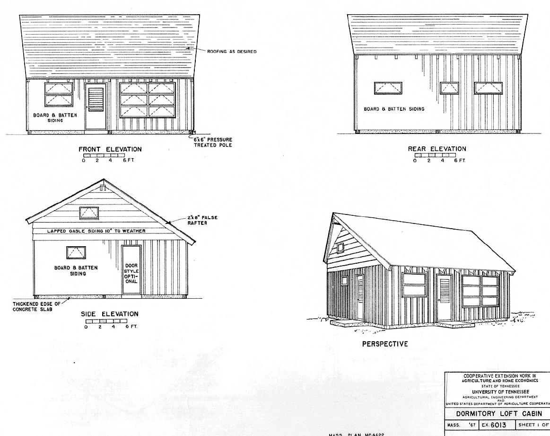 Plans for a dorm loft cabin.