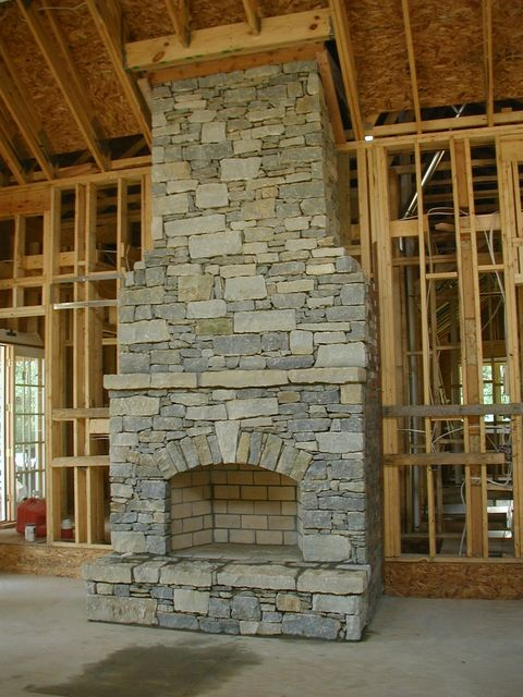 Dry-stack fireplace stone.