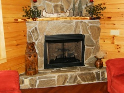 Log Cabin Fireplace -- fireplace photo 1