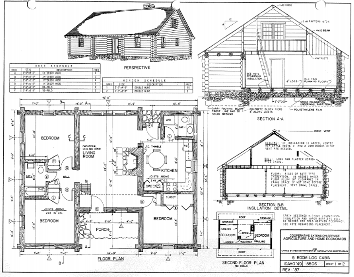Floor plans for a five-room cabin.