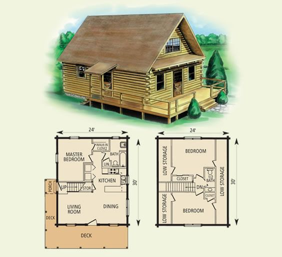 Free small cabin plans for Log cabin floor plans with 2 bedrooms and loft