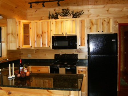 Cabin Kitchen Countertop: black granite countertops add an elegant contrast to the golden wood walls.