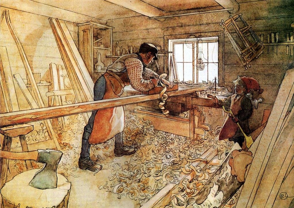 The proper log home building tools are important in the woodshop as well as the building site.