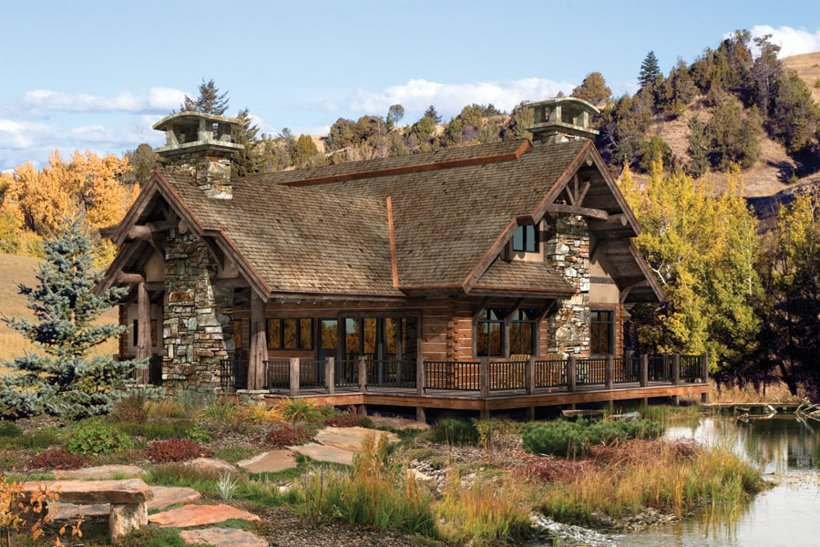 proper log cabin home design includes integrating your log home into the surrounding environment - Log Home Design
