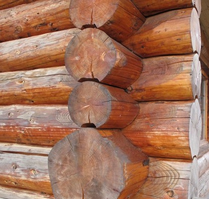 Handcrafted log corner on Log Standards page.