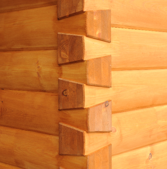Dovetail corner logs.