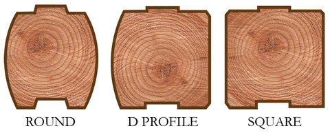 Log profiles: round, D-shape and square.