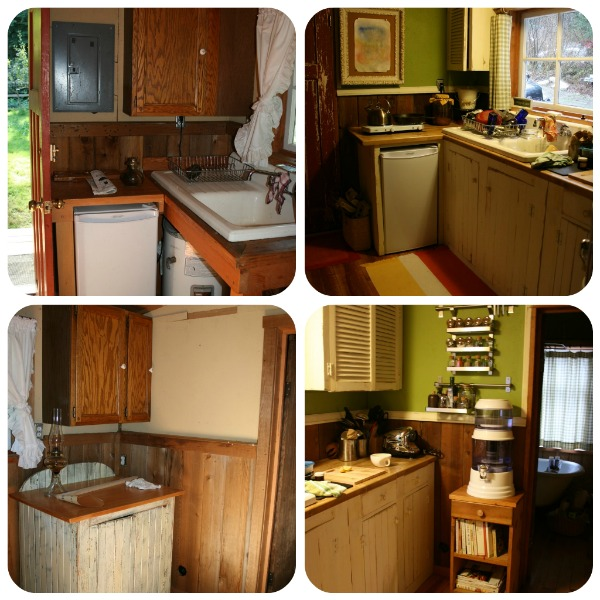 Pictures of the cabin kitchen and renovations.