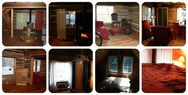 Interior shots of the cabin renovation.