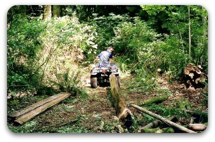 Dragging logs using a 4-wheeler.