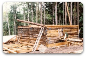 Log walls going up.