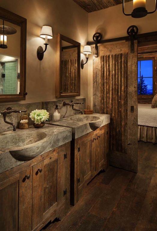 Cabin bathroom with sliding door.