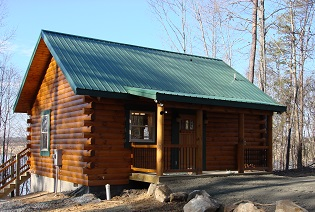 Cabin overlooking lake on Small Cabin Energy Needs page.