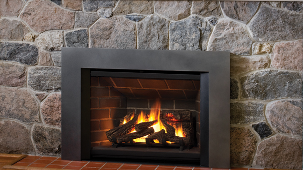 Small cabin gas fireplace insert.