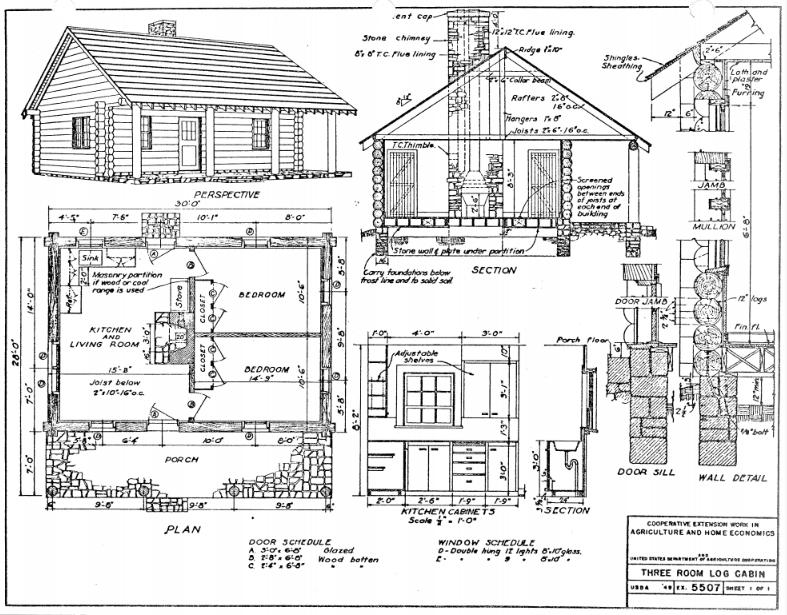 Three-room cabin floor plans.