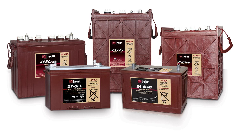 Small cabin energy storage using Trojan deep-cycle batteries.